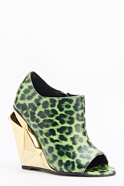 Contrast Animal Print Wedge Shoes