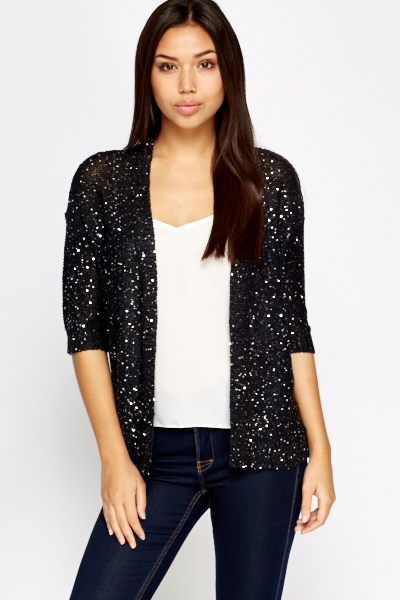 Black Sequin Open Cardigan