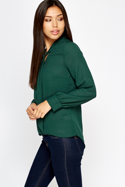 Green Tie Up Blouse