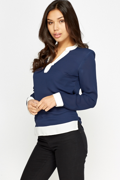 Navy Contrast Blouse
