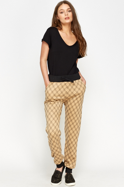Image of Check Camel Joggers