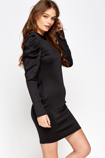 Puff Shoulder Black Bodycon Dress