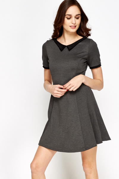 Charcoal Collared Skater Dress
