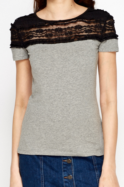 Contrast Shoulder Grey Top