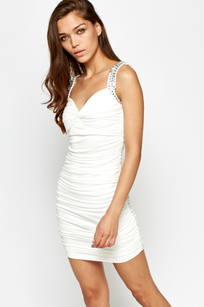 Cream Encrusted Ruched Dress