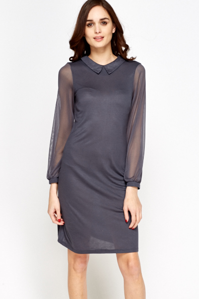 Grey Sheer Sleeve Dress