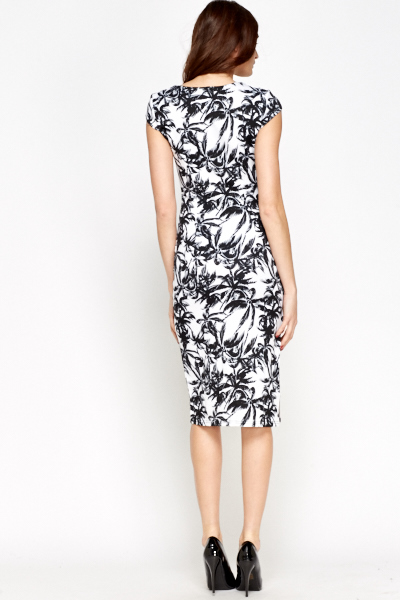 Mono Palm Tree Print Dress
