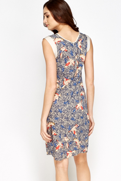 Navy Multi Bird Print Dress