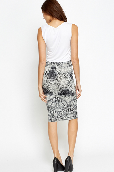 Aztec Grey Midi Pencil Skirt