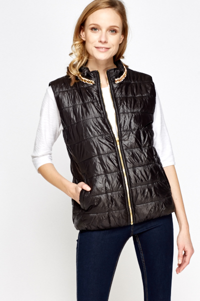 Black Encrusted Neck Body Warmer