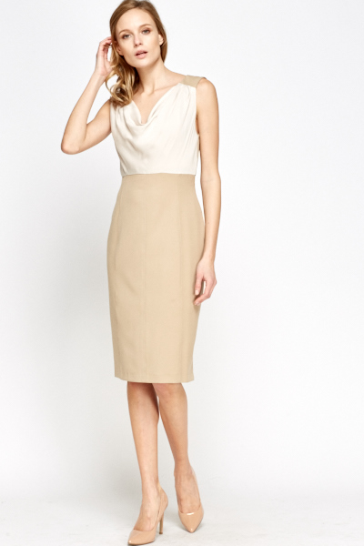 Contrast Cowl Neck Pencil Dress