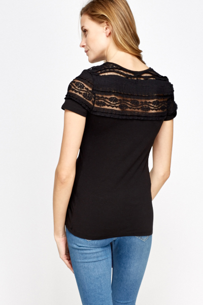 Contrast Shoulder Black Top