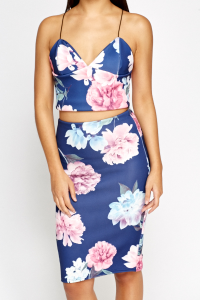 Blue Floral Crop Top And Skirt Set