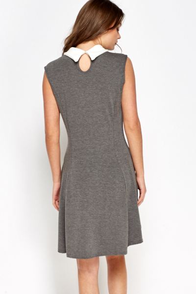 Grey Collared Swing Dress