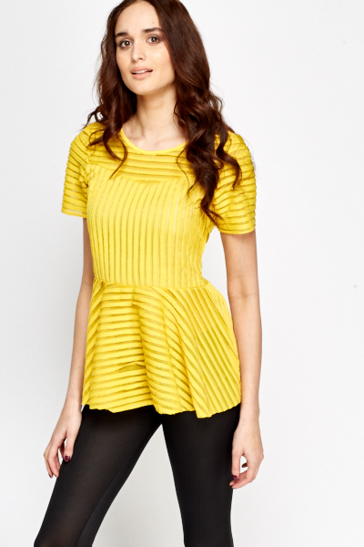 Metallic Stripe Peplum Top
