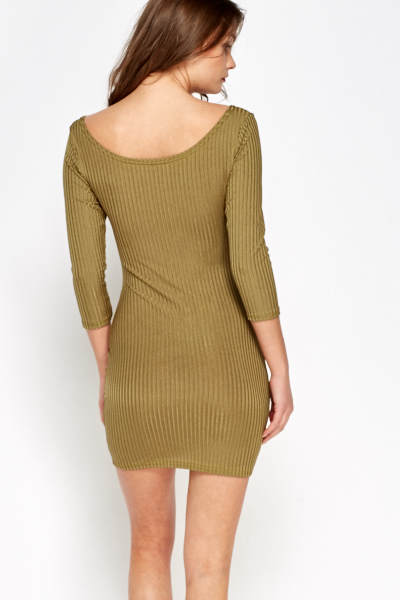 Textured Olive Bodycon Dress