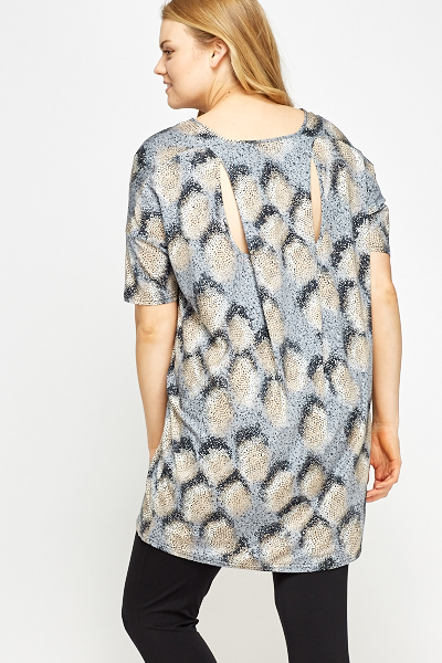 Brush Print Cut Back Tunic