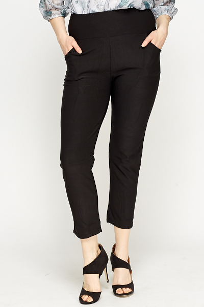 Cropped Black High Waist Trousers
