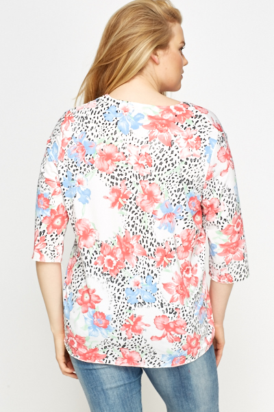 Floral White Blouse