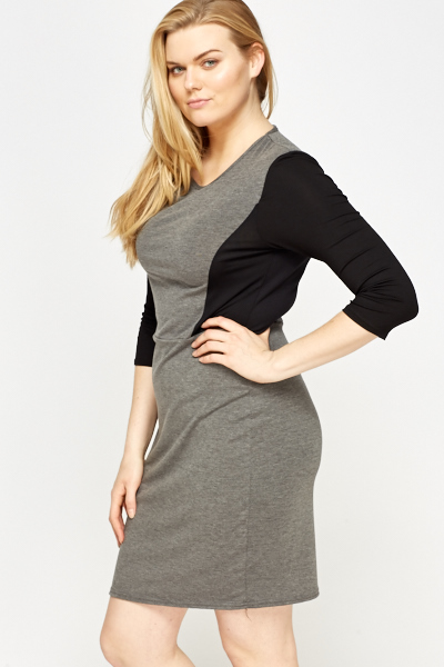Grey Contrast Dress