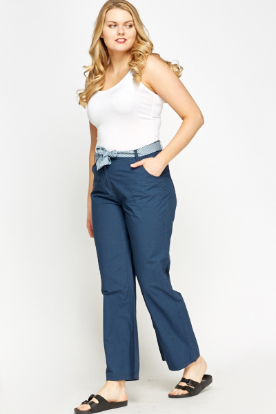 High Waist Middle Blue Trousers