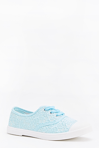 Lace Overlay Lace Up Trainers