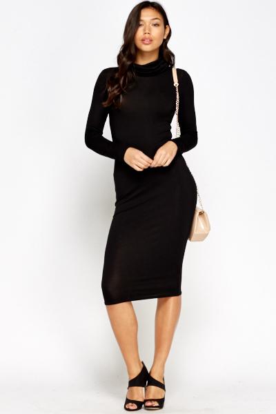 7b58832873 Black Roll Neck Midi Dress - Just £5
