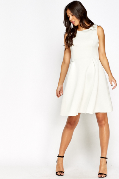 Cut Out Back Scuba Skater Dress