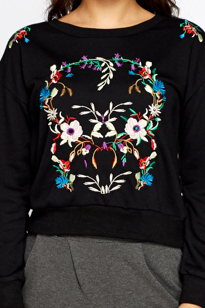 Embroidered Skull Sweater
