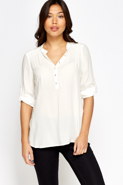 White Button Fastening Blouse