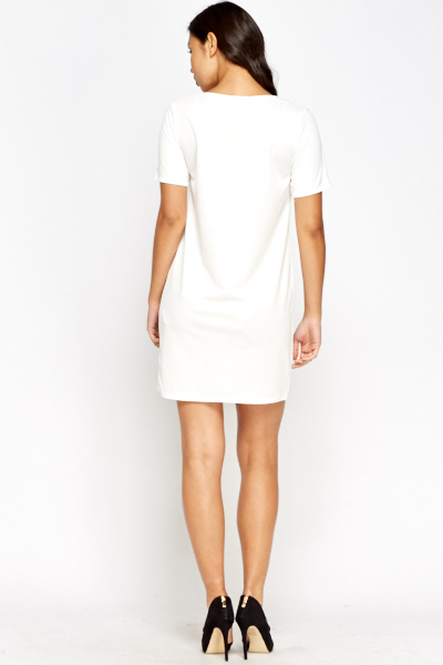 White Cut Out Shift Dress