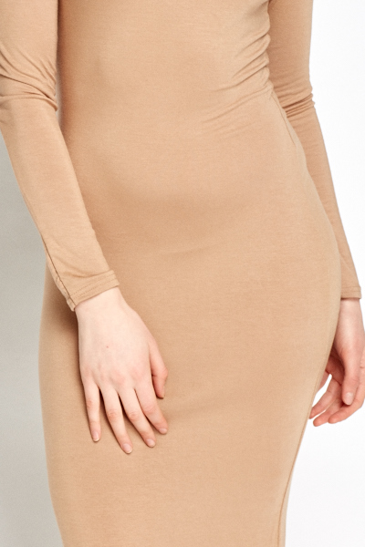 Camel Roll Neck Midi Dress