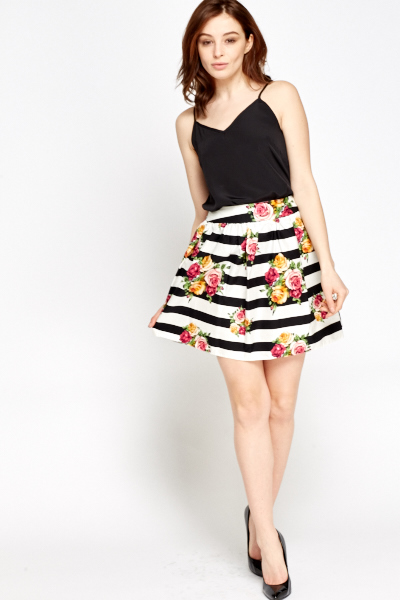 f39a659b4412 Floral Striped Skater Skirt - Just £5