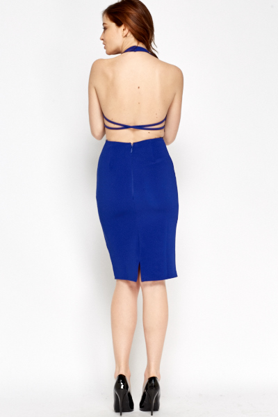 Royal Blue Halter Neck Dress