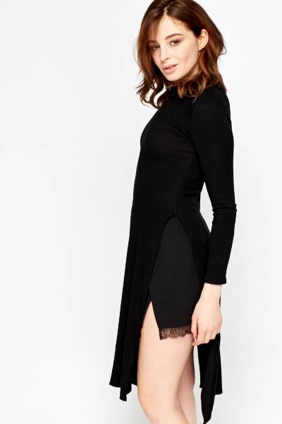 Split Side Black Dress