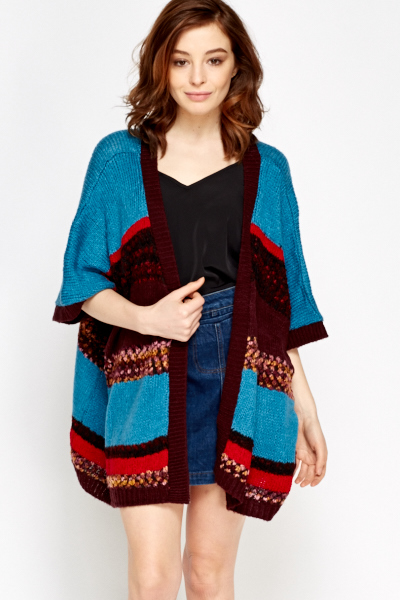 Teal Multi Striped Boho Cardigan