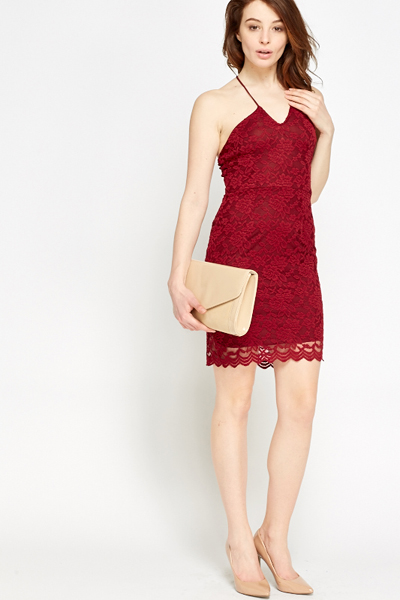 Burgundy Lace Overlay Dress