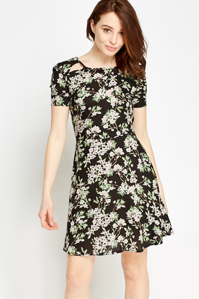 Cut Out Floral Skater Dress