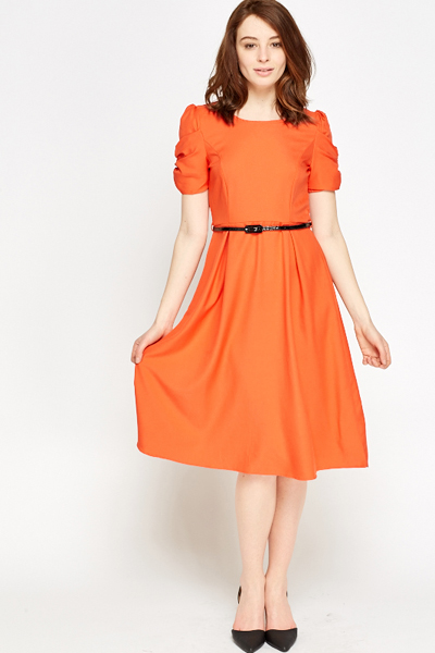 Ruched Sleeve A-Line Dress