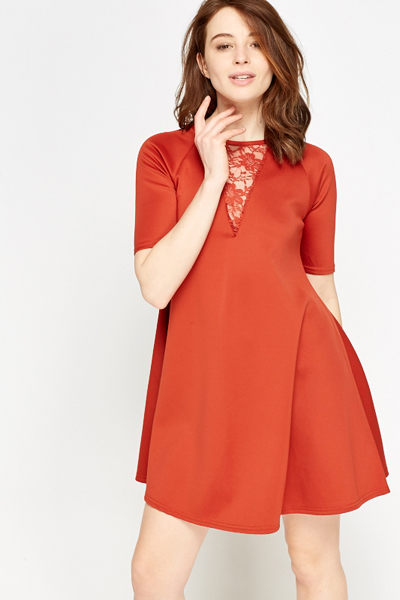 Rust Lace Insert Swing Dress
