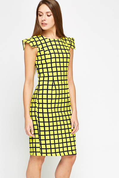Yellow Check Grid Dress