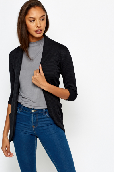Black Ribbed Open Front Blazer