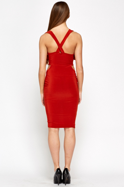 Brick Plunge Bodycon Dress