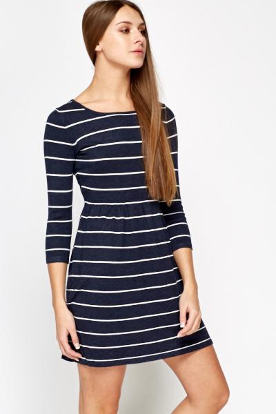 4f18b17025ab Navy Striped Skater Dress - Just £5