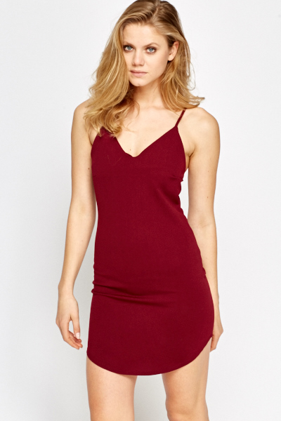 Burgundy Strappy Dress