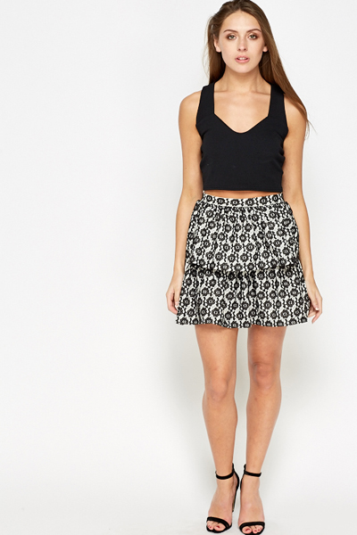 Lace Overlay Layered Skirt