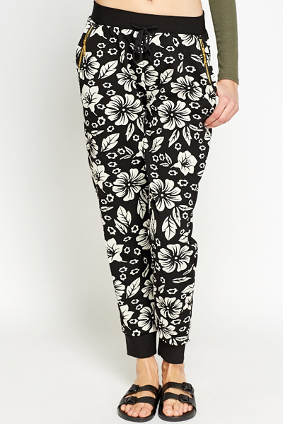 Ribbed Floral Joggers