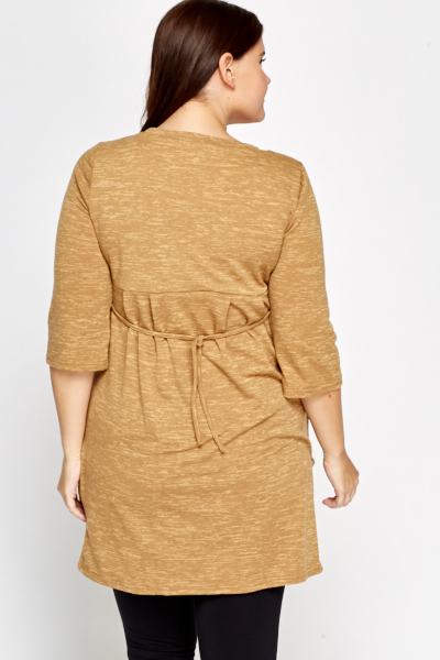 Camel Wrap Front Tunic