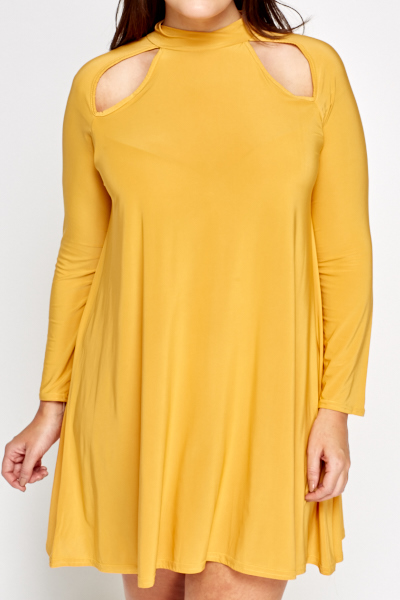 Cut Out Mustard Swing Dress
