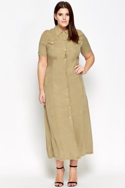 Khaki Maxi Shirt Dress - Just £5